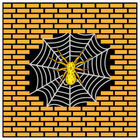 Spider Nesting on Hole brick wall. Vector Illustration on Brick wall background.