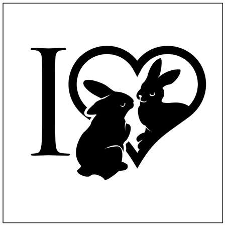 I love rabbit with flat style. Vector Illustration on white background.