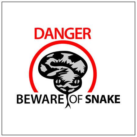 Beware of snake sign, Vector Illustration on white background.