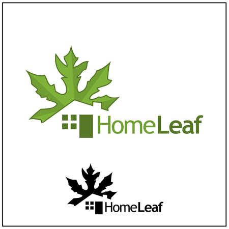 Home Leaf logo. Logo vector illustration. Abstract house logo