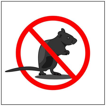 No rat sign, Vector Illustration on white background. Rat killer 矢量图像