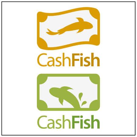 Cash Fish Icon. Vector illustration on white background. Stock icon