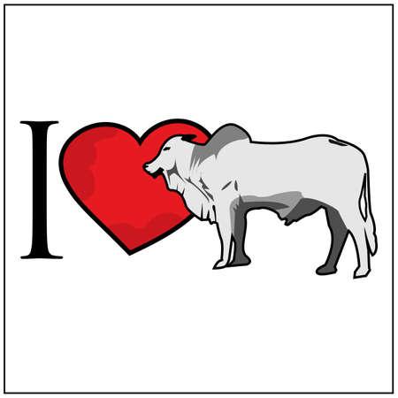 I love cow. Vector Illustration on white background. 矢量图像