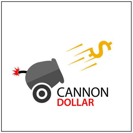 Cannon Dollar  . Abstract moneymaker  . Vector illustration