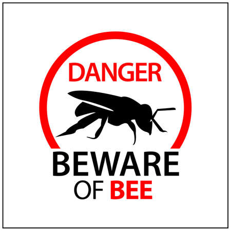 Beware of bee sign, Vector Illustration on white background. 矢量图像