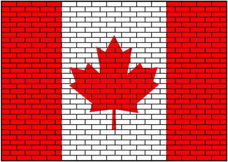 Canada, Canada flag on brick background. Vector Illustration. 矢量图像