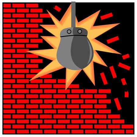 Wrecking ball smashing into a brick wall. Vector Illustration