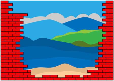 Beach visible behind a red brick wall. Concept for opportunity or a positive future.