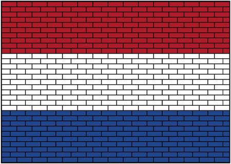 Dutch flag on brick background, Netherlands. Vector Illustration