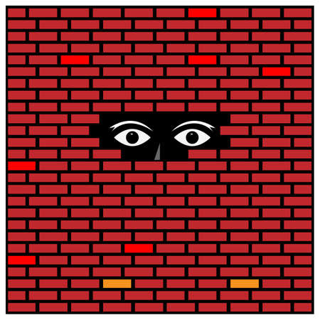 Eyes looking through a hole in a brick wall. Concept for opportunity or freedom and borders. 矢量图像