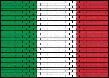 Italian, Italian flag on brick wall background. Vector Illustration. 矢量图像