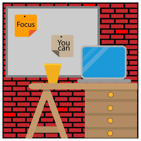 Laptop on desk. Working desk with laptop, coffee, and paper notes. Cartoon vector illustration