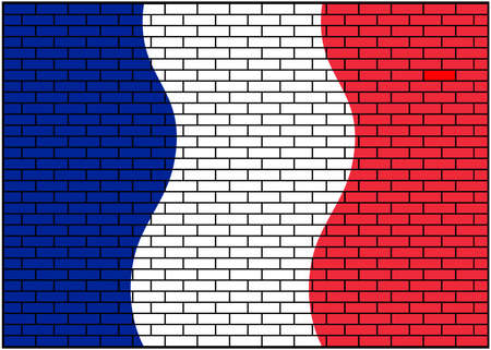 French, French flag on brick wall background. Vector Illustration.