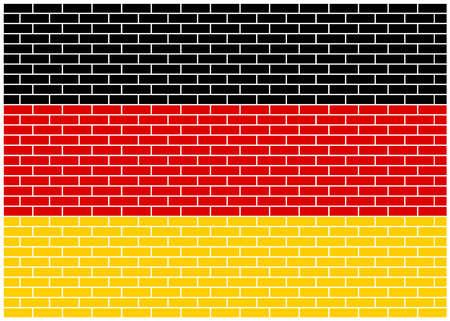 German flag on brick wall background. Germany. Vector Illustration.