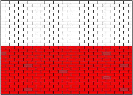Polish flag on brick wall background. Poland. Vector Illustration.