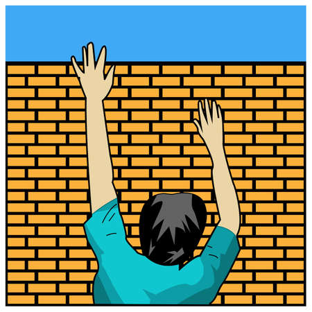 People climb brick walls. Concept for freedom. Vector Illustration