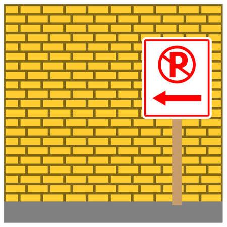 Sign board Directing To no parking. Vector Illustration on Brick wall background. 矢量图像