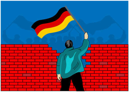 People holding German flags separated by a wall. Concept for the union of West Germany and East Germany