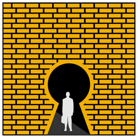 Businessmen and key hole. Concept for get out of trouble. Vector Illustration