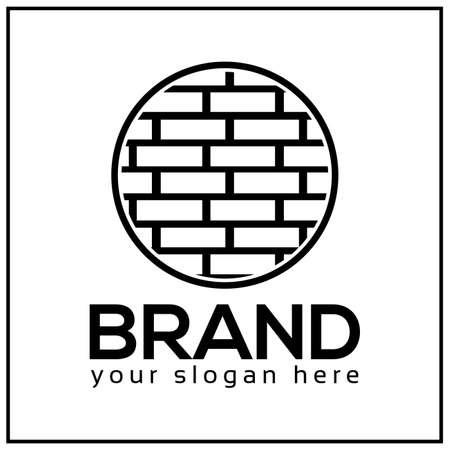 Brick icon. Circle brick. Vector Illustration on white background.