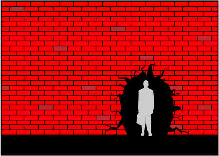 Businessmen and wall holes. Concept for get out of trouble. Vector Illustration 矢量图像