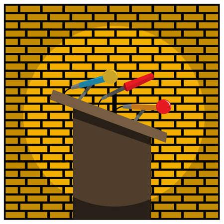 Podium and microphone on brick walls. Vector Illustration