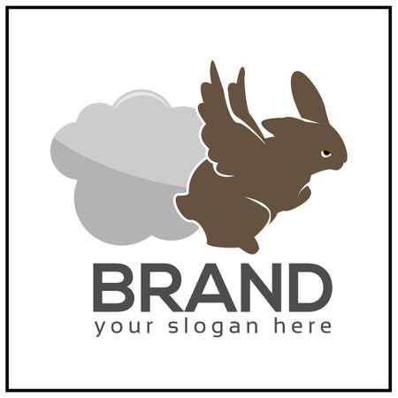 Flying rabbit . Rabbit . Rabbit and cloud icon. vector illustration 矢量图像
