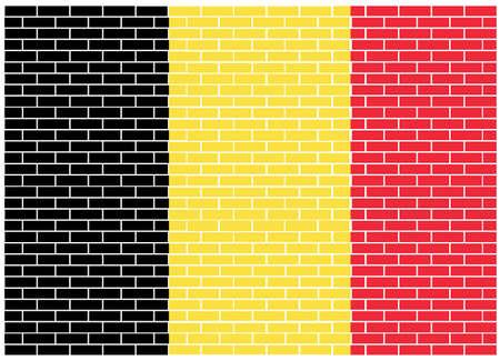Belgium flag on brick background, Vector Illustration