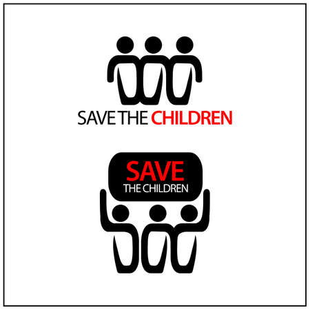Save the children Icon. Concept for protect the children. Vector Illustration on white background