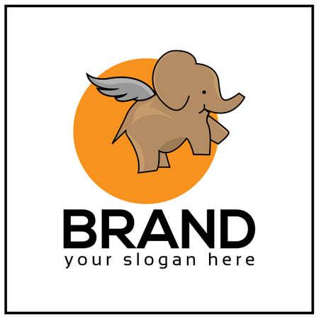 Flying elephant . Elephant . Elephant and circle icon. vector illustration.