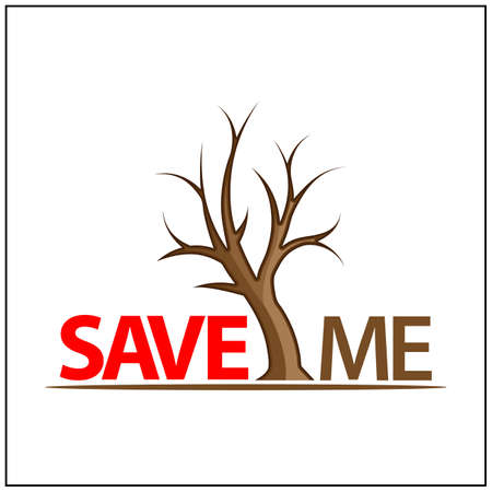 Save Me Icon. Concept for protect plants. Vector Illustration on white background