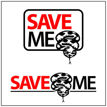 Save Me Icon. Concept for protect the snake. Vector Illustration on white background