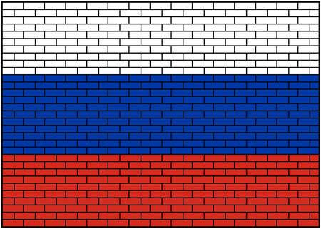 Russian flag on brick background, Vector Illustration
