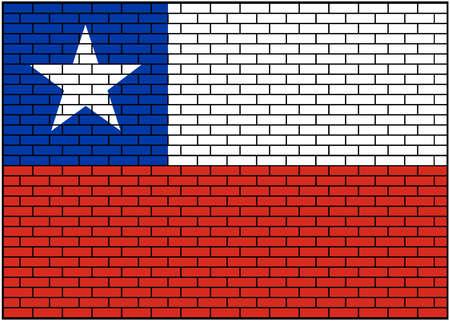 Chile flag on brick wall background, Vector Illustration 矢量图像
