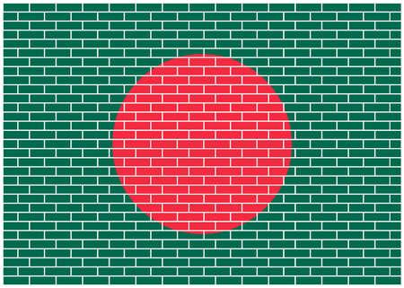 Bangladesh flag on brick wall background, Vector Illustration