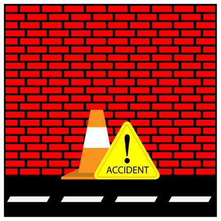 Roadblock and accident Sign. Vector Illustration on Brick wall background.