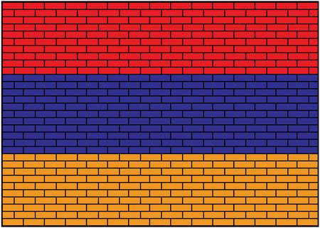 Armenian flag on brick background, Vector Illustration