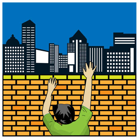 People climb brick walls. Concept for moved from rural to urban in search of work. Vector Illustration