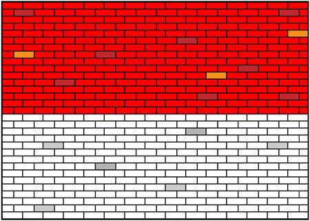 Indonesian flag on brick background, Indonesia. Vector Illustration