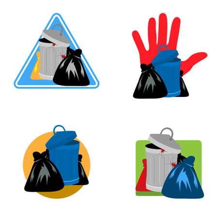 Trash icon set. Vector Illustration on white background.
