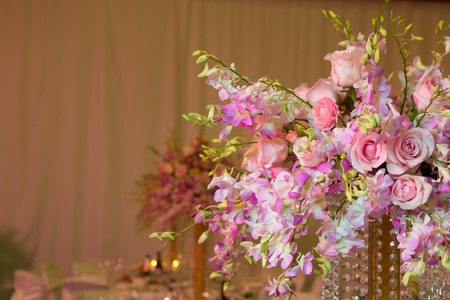 wedding decorations in pink colour. Wedding day photo