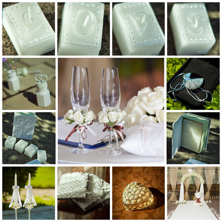Prefect collage of wedding pictures decorations in light colour photo