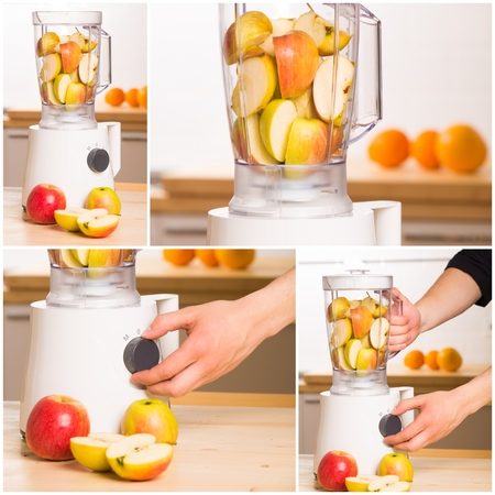 blending: White blender with apples on a wooden table  Kitchen