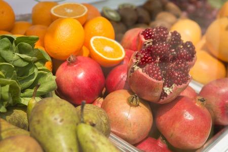 Bright, fresh fruits  Creative background  Close up photo