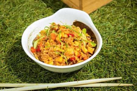 Fried rice with seafood and vegetables in Japanese style photo