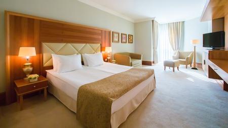 인테리어 디자인. 큰 현대 침실