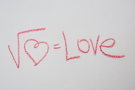 square root: Square root of heart on white paper. Handwritten love formula. Creative card