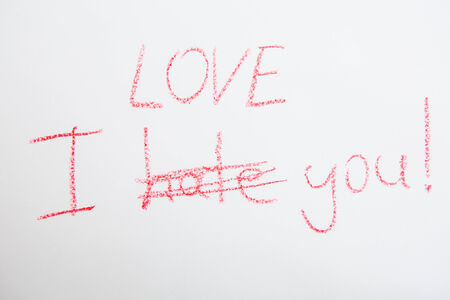 Handwritten Simple Words. I Love You. On White Paper. Creative Card Photo