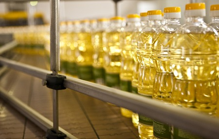 factory line: Factory for the production of edible oils. Shallow DOFF. Selective focus.