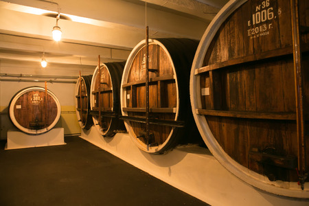 Rows with many barrels in cognac factory photo